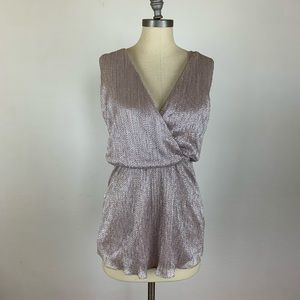 Parker Silver Metallic Cinched Waist Dress